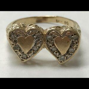 14K Gold Diamond Engravable Double Heart Ring 6.25